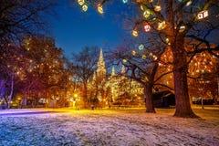 维也纳城镇厅和公园 免版税库存图片