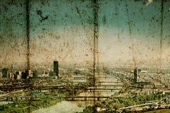 维也纳风景的老难看的东西图象与多瑙河的 库存图片
