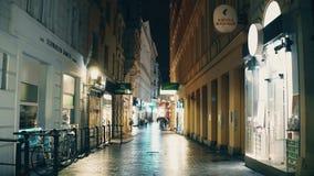 维也纳,奥地利- 12月,圣诞节24 Steadicam射击在晚上装饰了狭窄的街道 旅游地方与 影视素材