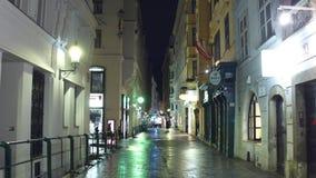 维也纳,奥地利- 12月,圣诞节24 Steadicam射击在晚上装饰了狭窄的街道 旅游地方与 股票录像