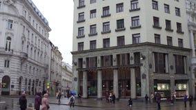维也纳,奥地利- 12月, 24个历史的Raiffeisenbank Wein办公室在Michaelerplatz广场 库存照片