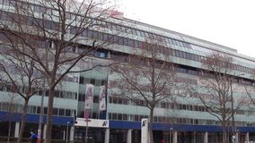 维也纳,奥地利- 12月, 24个A1电信编组办公室 库存图片