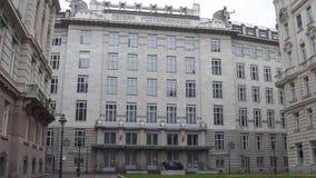 维也纳,奥地利- 12月, 24个P S K 银行Osterreichische Postsparkasse历史总部修造 库存图片