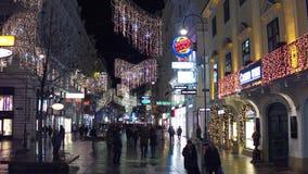 维也纳,奥地利- 2016年12月, 24日 圣诞节在晚上装饰了步行街道 普遍的旅游地方与 库存照片
