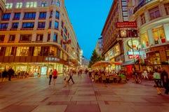 维也纳,奥地利- 2015年8月11日, :走的aroundSingerstrasse区域作为晚上持续,美好的门面建筑学 免版税库存照片