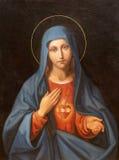 维也纳,奥地利- 2016年12月19日:圣母玛丽亚的心脏绘画教会kirche圣的Laurenz 免版税库存图片