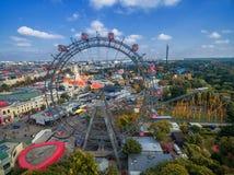 维也纳,奥地利- 2016年10月07日:巨型弗累斯大转轮 熏肉香肠Riesenrad 它是世界` s最高的现存弗累斯大转轮 库存图片