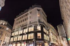 维也纳,奥地利- 2015年11月13日:市中心视图在晚上 免版税库存照片