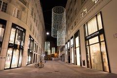 维也纳,奥地利- 2015年11月13日:市中心视图在晚上 免版税库存图片