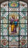 维也纳,奥地利- 2016年12月19日:教会Mariahilfer Kirche彩色玻璃的圣约瑟夫  免版税图库摄影