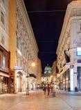 维也纳,奥地利- 2015年6月05日:沿Graben街的一个看法在ni 免版税库存照片
