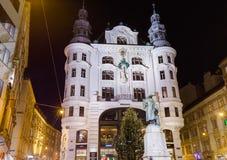 维也纳,奥地利- 2016年12月28日:美丽的房子在老镇 库存图片