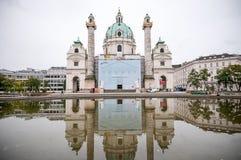 维也纳,奥地利- 2015年10月20日:著名圣查尔斯看法  库存图片