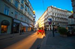 维也纳,奥地利- 2015年10月12日:街道在su的老镇 库存照片