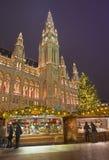 维也纳,奥地利- 2014年12月19日:镇大厅或Rathaus和圣诞节市场在Rathausplatz摆正 库存照片