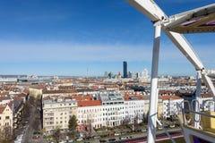 维也纳,奥地利- 2015年11月14日:从prater客舱的城市视图 免版税库存图片