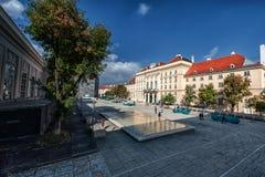 维也纳,奥地利- 2016年10月07日:MuseumsQuartier和Tanzquartier维恩在维也纳,奥地利 图库摄影