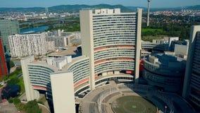 维也纳,奥地利- 2017年7月31日 联合国大厦空中射击  库存照片