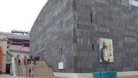 维也纳,奥地利-著名现代艺术博物馆12月, 24个MUMOK, 普遍的旅游目的地在城市 免版税库存图片