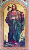 维也纳:耶稣基督壁画作为花匠的卡尔冯Blaas从年1858在Altlerchenfelder教会教堂中殿  库存照片