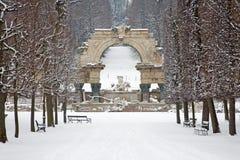 维也纳-废墟在Schonbrunn宫殿庭院里在冬天 免版税库存图片