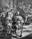 维也纳-彼拉多老石版印刷的耶稣从18 分 约翰尼斯洛伦茨Haid在Salesianerkirche 图库摄影