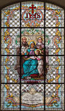 维也纳-有st Theresia和圣的伊格曼山圣安在教会Mariahilfer Kirche彩色玻璃  免版税库存照片
