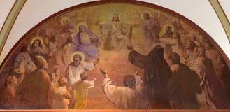 维也纳-从18的在十字架上钉死老石版印刷 分 约翰尼斯洛伦茨Haid在Salesianerkirche教会里 免版税库存照片