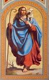 维也纳-耶稣基督壁画作为好牧羊人的卡尔从19。分的冯Blaas。在Altlerchenfelder教会教堂中殿  免版税库存照片