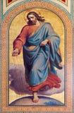 维也纳-耶稣基督壁画作为seedsman的从在新约的寓言卡尔从19。分的冯Blaas著。在Altlerchenf教堂中殿  免版税图库摄影