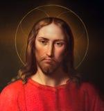 维也纳-耶稣基督从19。分的利奥波德Kupelwieser。在巴洛克式的圣皮特圣徒・彼得教会上旁边法坛  免版税图库摄影