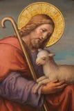 维也纳-耶稣壁画作为好牧羊人的约瑟夫Kastner 1906年- 1911年在Carmelites教会里在Dobling。 图库摄影