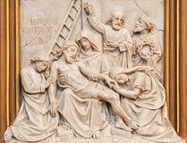 维也纳-耶稣从发怒安心被中断作为发怒方式周期的一部分在Sacre Coeur 库存图片