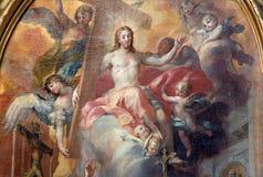 维也纳- Resurrected耶稣细节在巴洛克式的圣皮特圣徒・彼得教会旁边法坛的天堂  库存图片