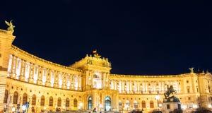 维也纳Hofburg皇家宫殿在晚上,奥地利 库存照片