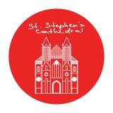 维也纳St斯蒂芬斯大教堂传染媒介红色圈子 库存照片
