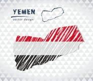 也门与在白色背景隔绝的旗子里面的传染媒介地图 剪影白垩手拉的例证 库存例证