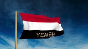 也门旗子与标题的滑子样式 挥动在 皇族释放例证