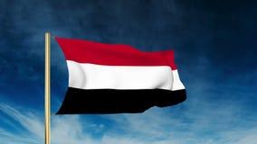 也门旗子滑子样式 挥动在胜利与 库存例证