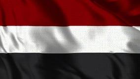也门旗子-现实4K -挥动在风的也门的30 fps旗子 向量例证