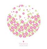 也corel凹道例证向量 与五颜六色的花的美好的花卉背景…背景 柔和的葡萄酒 皇族释放例证