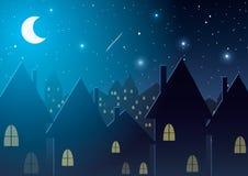 也corel凹道例证向量 反对星和月亮的夜城市 库存图片