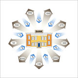 也corel凹道例证向量 商业图表 Infographics :银行贷款作为现金流动 免版税库存图片