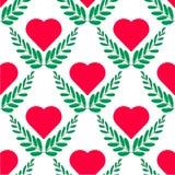也corel凹道例证向量 在白色背景的平的叶子和心脏商标模板 无缝的样式心脏 向量例证