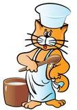 也corel凹道例证向量 字符盖帽和围裙的猫厨师 查出在白色 库存图片