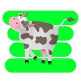 也corel凹道例证向量 愉快动画片的母牛 画孩子的 农场 Cat.stylized animal.vegetable模式 艺术 库存图片