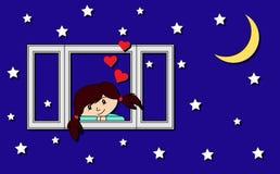 也corel凹道例证向量 爱的一个女孩看窗口 库存照片