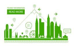 也corel凹道例证向量 都市的横向 房地产背景 Infographic设计 城市天 免版税库存图片