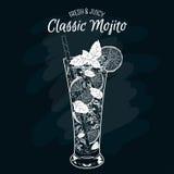 也corel凹道例证向量 酒精鸡尾酒Mojito 免版税图库摄影