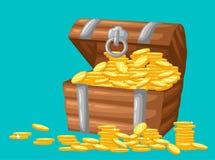 也corel凹道例证向量 金币珍宝在黑暗的背景木胸口集合的比赛接口金钱硬币的 皇族释放例证